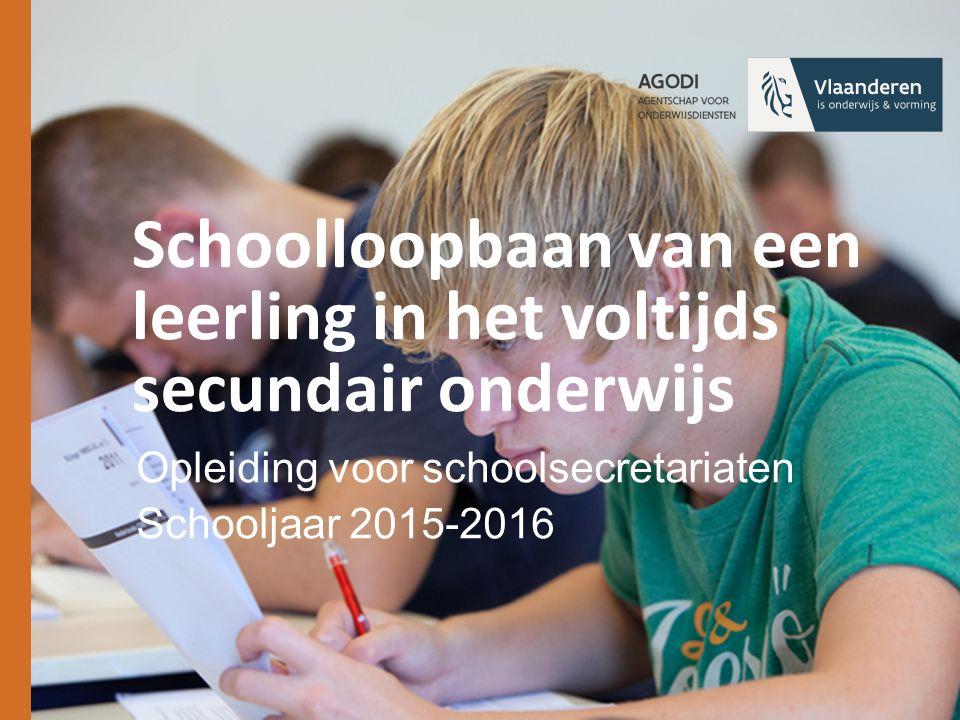 Inleiding Stappen in de schoolloopbaan en hun administratieve gevolgen Toepassingsgebied van deze cursus = voltijds SO + OV4 BuSO (grotendeels) Edulex http://www.ond.vlaanderen.be/edulex/ http://www.ond.vlaanderen.be/wetwijs/ http://www.ond.vlaanderen.be/edulex/e mail/ 11/12/2015 │2