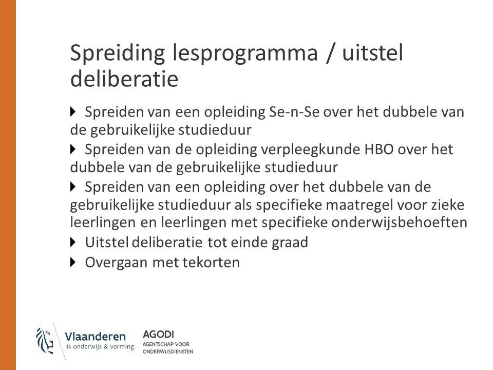 Spreiding lesprogramma / uitstel deliberatie Spreiden van een opleiding Se-n-Se over het dubbele van de gebruikelijke studieduur Spreiden van de oplei