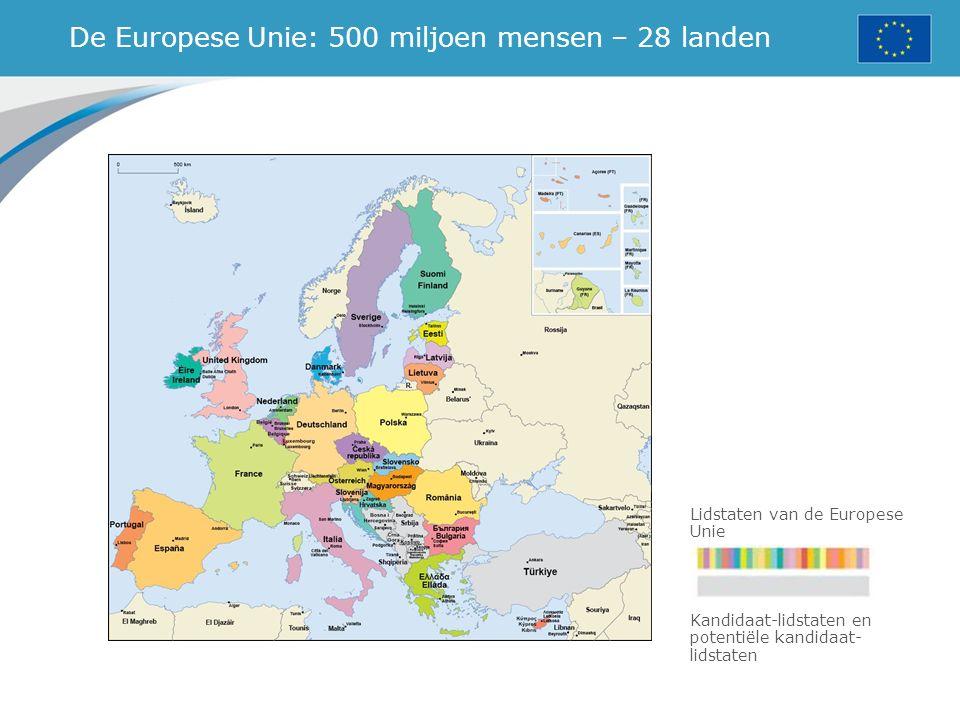 De Europese Unie: 500 miljoen mensen – 28 landen Lidstaten van de Europese Unie Kandidaat-lidstaten en potentiële kandidaat- lidstaten