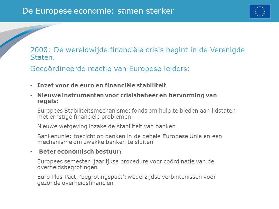 De Europese economie: samen sterker 2008: De wereldwijde financiële crisis begint in de Verenigde Staten. Gecoördineerde reactie van Europese leiders: