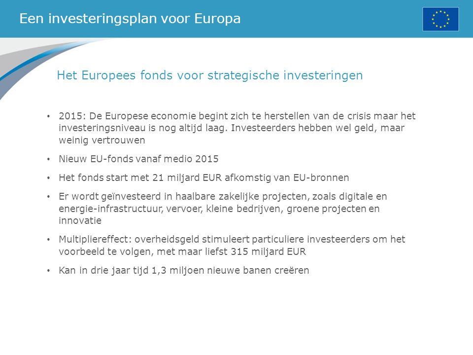 Een investeringsplan voor Europa Het Europees fonds voor strategische investeringen 2015: De Europese economie begint zich te herstellen van de crisis maar het investeringsniveau is nog altijd laag.