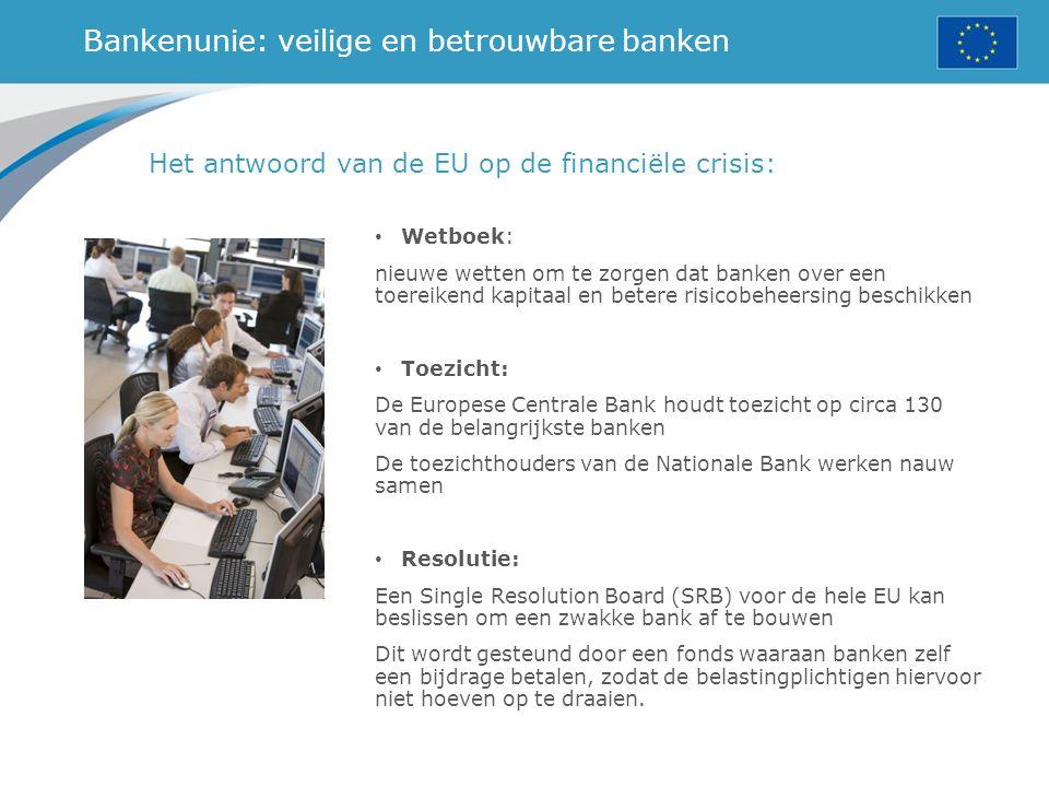 Bankenunie: veilige en betrouwbare banken Het antwoord van de EU op de financiële crisis: Wetboek: nieuwe wetten om te zorgen dat banken over een toereikend kapitaal en betere risicobeheersing beschikken Toezicht: De Europese Centrale Bank houdt toezicht op circa 130 van de belangrijkste banken De toezichthouders van de Nationale Bank werken nauw samen Resolutie: Een Single Resolution Board (SRB) voor de hele EU kan beslissen om een zwakke bank af te bouwen Dit wordt gesteund door een fonds waaraan banken zelf een bijdrage betalen, zodat de belastingplichtigen hiervoor niet hoeven op te draaien.