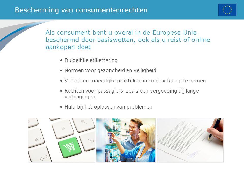 Bescherming van consumentenrechten Duidelijke etikettering Normen voor gezondheid en veiligheid Verbod om oneerlijke praktijken in contracten op te nemen Rechten voor passagiers, zoals een vergoeding bij lange vertragingen.