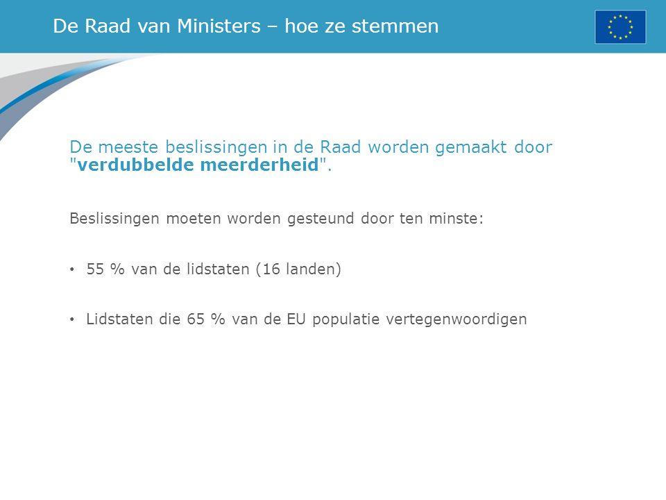 De Raad van Ministers – hoe ze stemmen De meeste beslissingen in de Raad worden gemaakt door verdubbelde meerderheid .