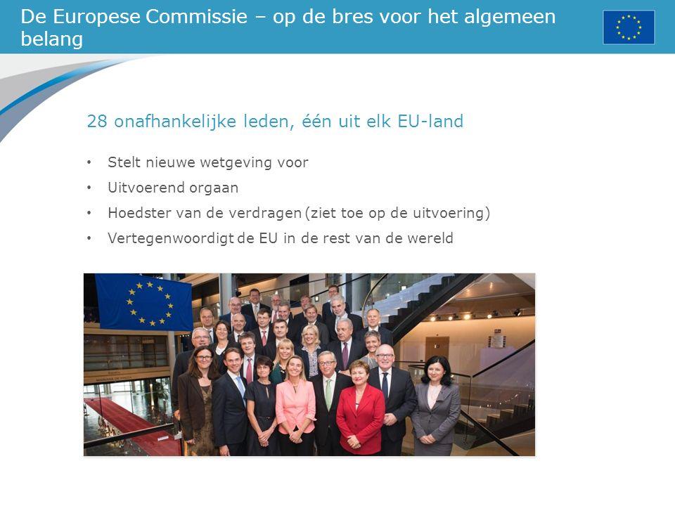 De Europese Commissie – op de bres voor het algemeen belang 28 onafhankelijke leden, één uit elk EU-land Stelt nieuwe wetgeving voor Uitvoerend orgaan