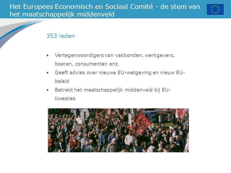 Het Europees Economisch en Sociaal Comité - de stem van het maatschappelijk middenveld Vertegenwoordigers van vakbonden, werkgevers, boeren, consumenten enz.
