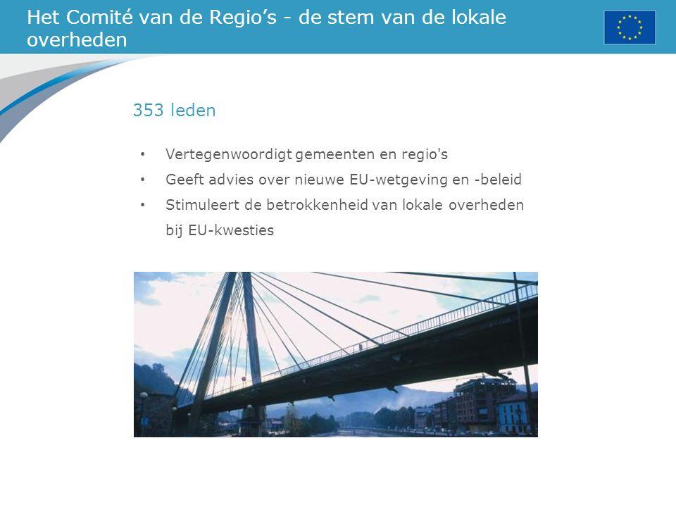 Het Comité van de Regio's - de stem van de lokale overheden Vertegenwoordigt gemeenten en regio s Geeft advies over nieuwe EU-wetgeving en -beleid Stimuleert de betrokkenheid van lokale overheden bij EU-kwesties 353 leden