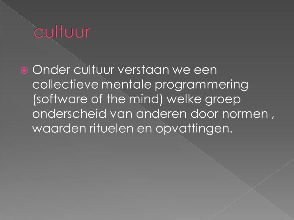  Onder cultuur verstaan we een collectieve mentale programmering (software of the mind) welke groep onderscheid van anderen door normen, waarden rituelen en opvattingen.