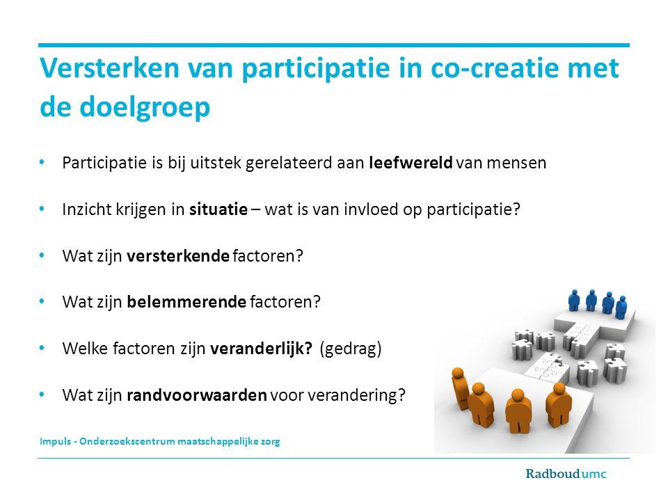 Impuls - Onderzoekscentrum maatschappelijke zorg Versterken van participatie in co-creatie met de doelgroep Participatie is bij uitstek gerelateerd aa