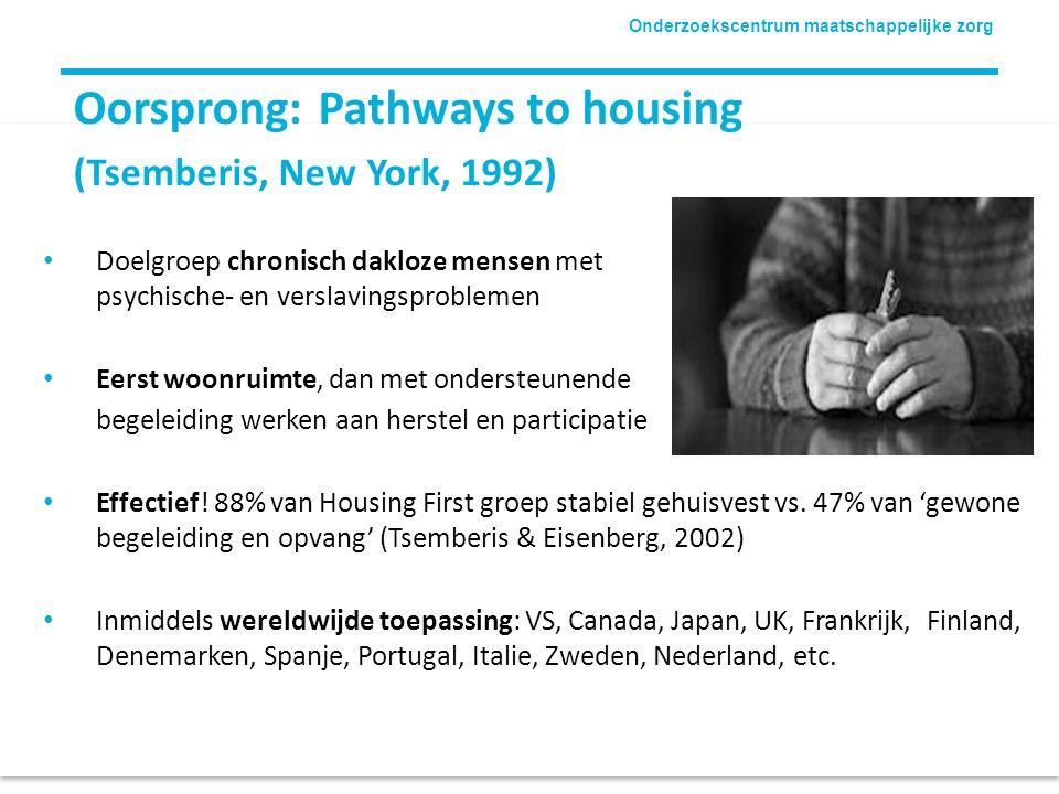 Onderzoekscentrum maatschappelijke zorg Oorsprong: Pathways to housing (Tsemberis, New York, 1992) Doelgroep chronisch dakloze mensen met psychische-