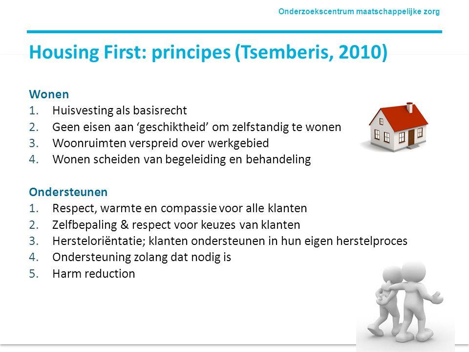 Onderzoekscentrum maatschappelijke zorg Housing First: principes (Tsemberis, 2010) Wonen 1.Huisvesting als basisrecht 2.Geen eisen aan 'geschiktheid'