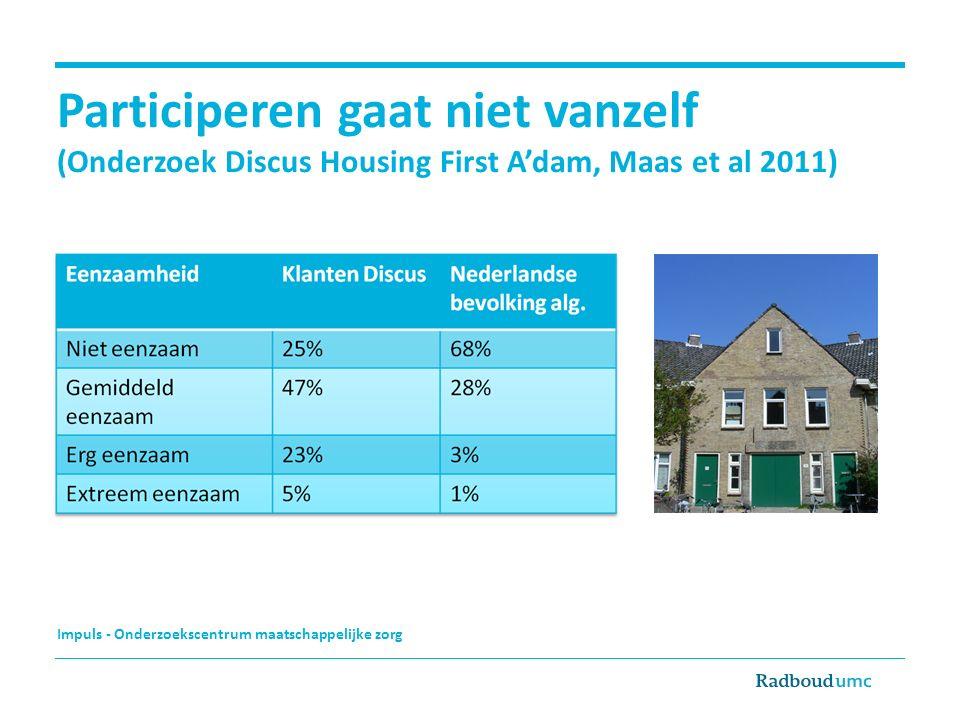 Impuls - Onderzoekscentrum maatschappelijke zorg Participeren gaat niet vanzelf (Onderzoek Discus Housing First A'dam, Maas et al 2011)