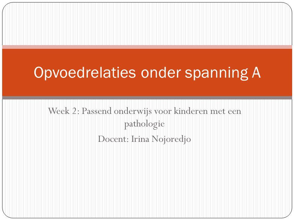 Week 2: Passend onderwijs voor kinderen met een pathologie Docent: Irina Nojoredjo Opvoedrelaties onder spanning A