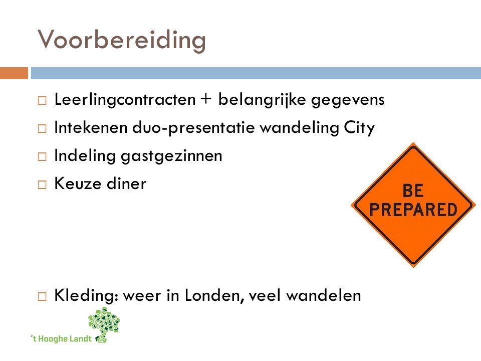 Voorbereiding  Leerlingcontracten + belangrijke gegevens  Intekenen duo-presentatie wandeling City  Indeling gastgezinnen  Keuze diner  Kleding: weer in Londen, veel wandelen