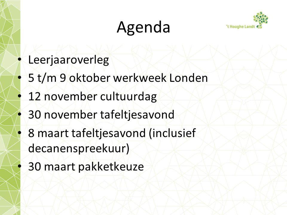 Agenda Leerjaaroverleg 5 t/m 9 oktober werkweek Londen 12 november cultuurdag 30 november tafeltjesavond 8 maart tafeltjesavond (inclusief decanenspreekuur) 30 maart pakketkeuze