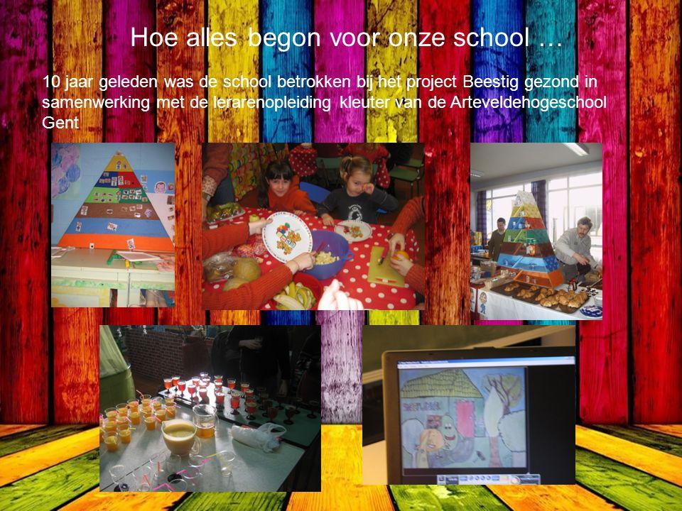 Hoe alles begon voor onze school … 10 jaar geleden was de school betrokken bij het project Beestig gezond in samenwerking met de lerarenopleiding kleuter van de Arteveldehogeschool Gent