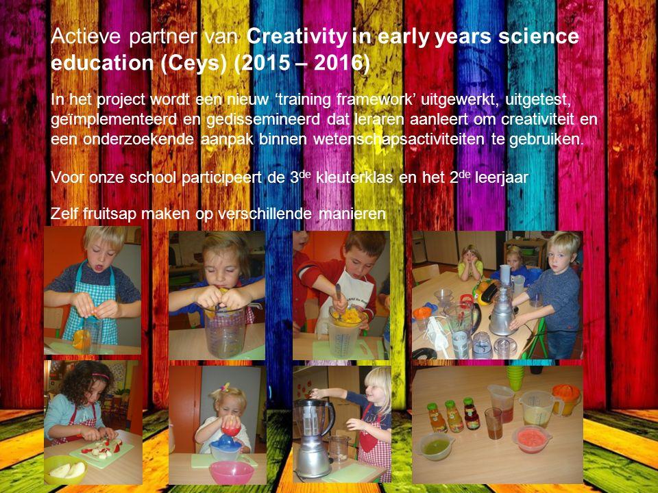 Actieve partner van Creativity in early years science education (Ceys) (2015 – 2016) In het project wordt een nieuw 'training framework' uitgewerkt, uitgetest, geïmplementeerd en gedissemineerd dat leraren aanleert om creativiteit en een onderzoekende aanpak binnen wetenschapsactiviteiten te gebruiken.