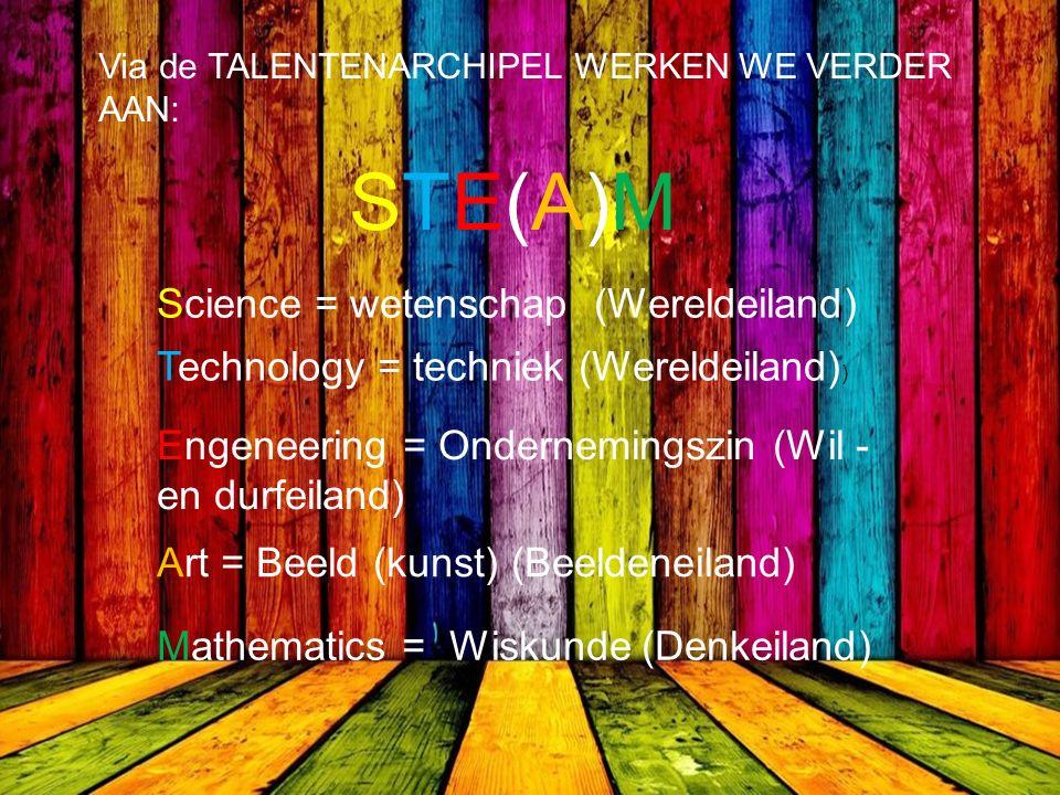 Via de TALENTENARCHIPEL WERKEN WE VERDER AAN: STE(A)MSTE(A)M Science = wetenschap (Wereldeiland) Technology = techniek (Wereldeiland) ) Engeneering = Ondernemingszin (Wil - en durfeiland) Art = Beeld (kunst) (Beeldeneiland) Mathematics = Wiskunde (Denkeiland)