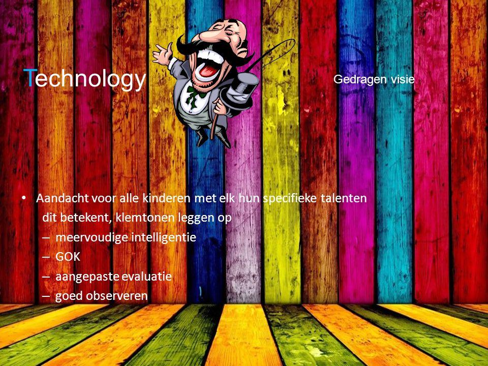 Technology Gedragen visie Aandacht voor alle kinderen met elk hun specifieke talenten dit betekent, klemtonen leggen op – meervoudige intelligentie – GOK – aangepaste evaluatie – goed observeren