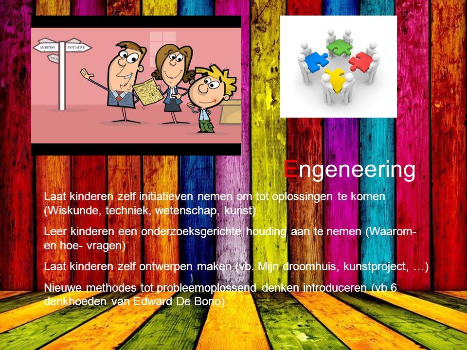 Engeneering Laat kinderen zelf initiatieven nemen om tot oplossingen te komen (Wiskunde, techniek, wetenschap, kunst) Leer kinderen een onderzoeksgerichte houding aan te nemen (Waarom- en hoe- vragen) Laat kinderen zelf ontwerpen maken (vb.