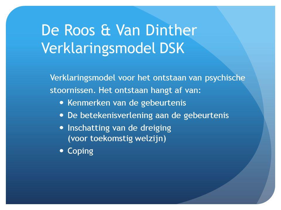 De Roos & Van Dinther Verklaringsmodel DSK Verklaringsmodel voor het ontstaan van psychische stoornissen. Het ontstaan hangt af van: Kenmerken van de