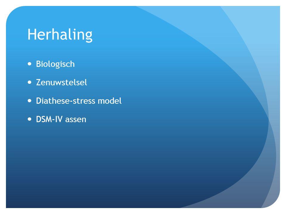 Herhaling Biologisch Zenuwstelsel Diathese-stress model DSM-IV assen