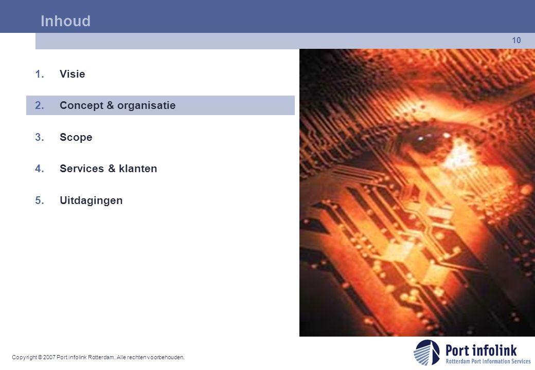 Copyright © 2007 Port infolink Rotterdam. Alle rechten voorbehouden. 10 Inhoud 1.Visie 2.Concept & organisatie 3.Scope 4.Services & klanten 5.Uitdagin