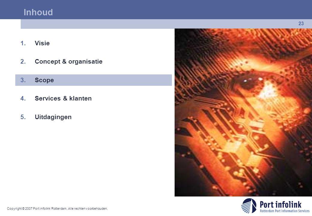 Copyright © 2007 Port infolink Rotterdam. Alle rechten voorbehouden. 23 Inhoud 1.Visie 2.Concept & organisatie 3.Scope 4.Services & klanten 5.Uitdagin