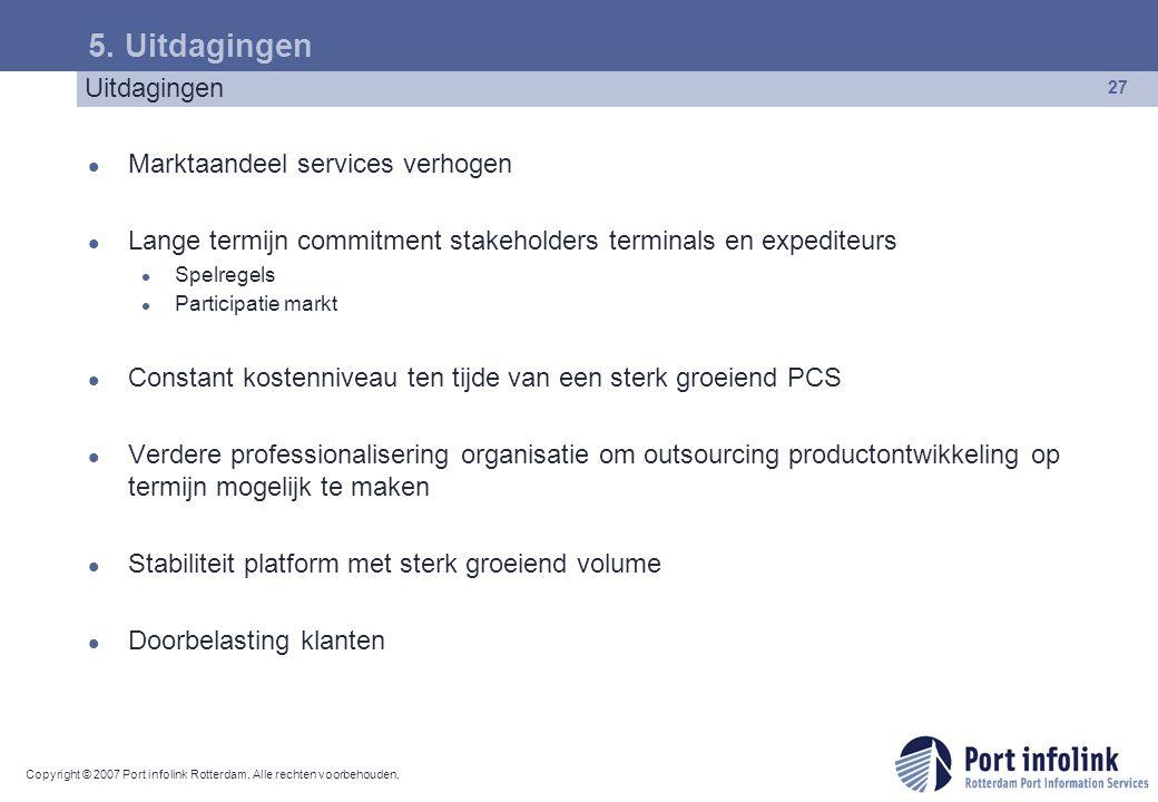 Copyright © 2007 Port infolink Rotterdam. Alle rechten voorbehouden. 27 5. Uitdagingen Marktaandeel services verhogen Lange termijn commitment stakeho