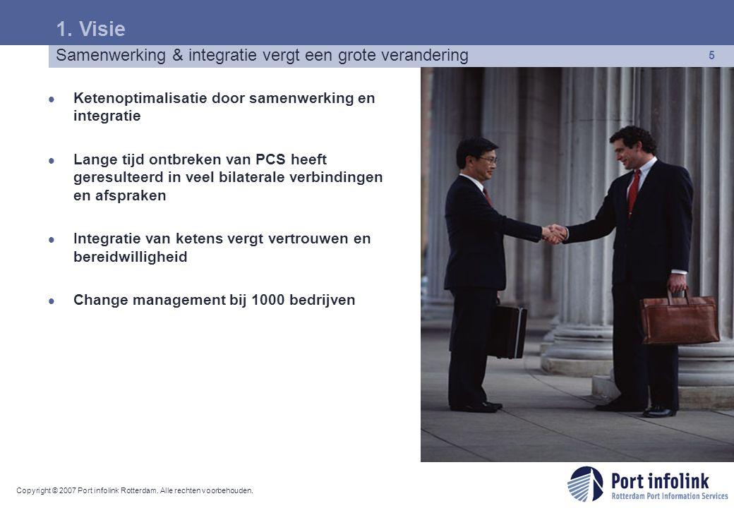 Copyright © 2007 Port infolink Rotterdam. Alle rechten voorbehouden. 5 Ketenoptimalisatie door samenwerking en integratie Lange tijd ontbreken van PCS