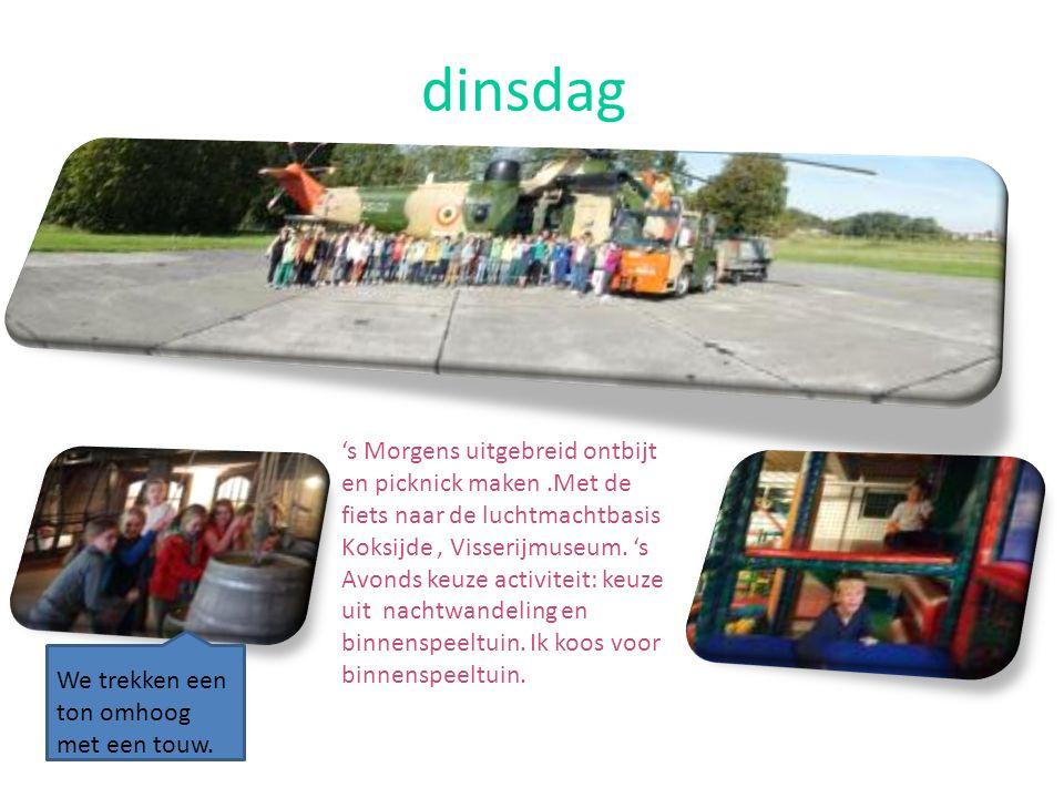 dinsdag 's Morgens uitgebreid ontbijt en picknick maken.Met de fiets naar de luchtmachtbasis Koksijde, Visserijmuseum.