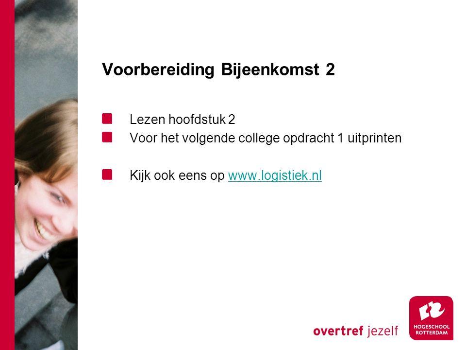 Voorbereiding Bijeenkomst 2 Lezen hoofdstuk 2 Voor het volgende college opdracht 1 uitprinten Kijk ook eens op www.logistiek.nlwww.logistiek.nl