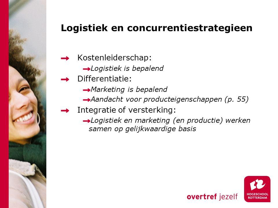 Logistiek en concurrentiestrategieen Kostenleiderschap: Logistiek is bepalend Differentiatie: Marketing is bepalend Aandacht voor producteigenschappen