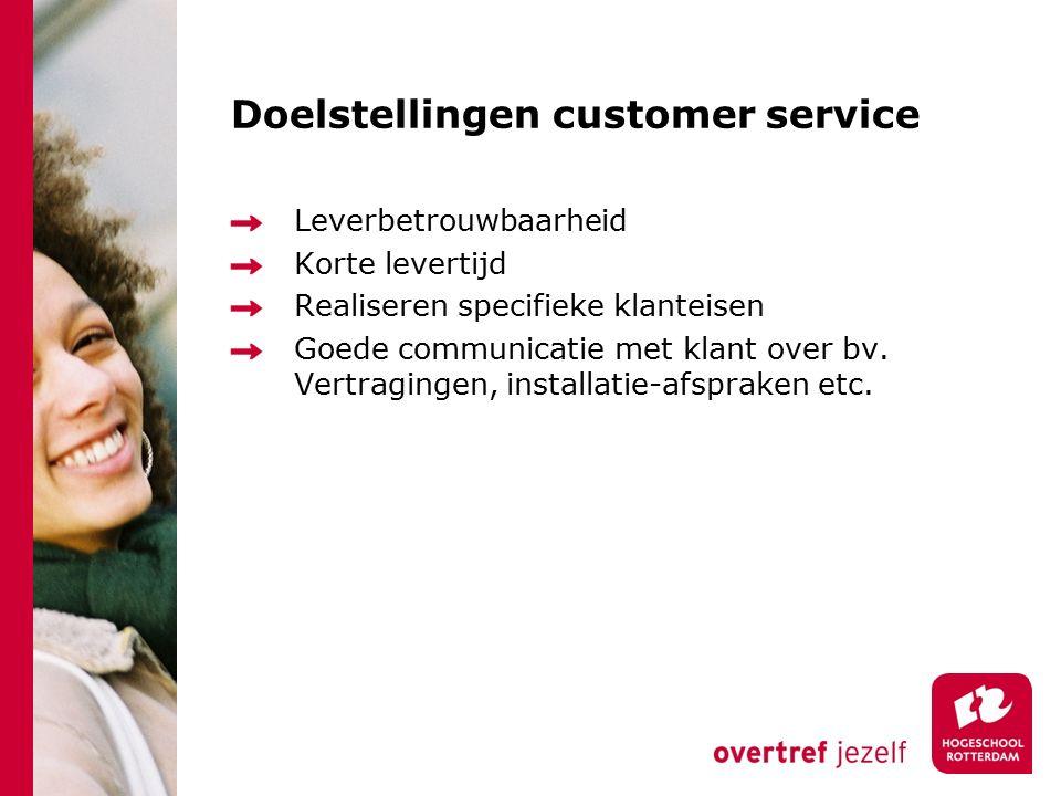 Doelstellingen customer service Leverbetrouwbaarheid Korte levertijd Realiseren specifieke klanteisen Goede communicatie met klant over bv. Vertraging