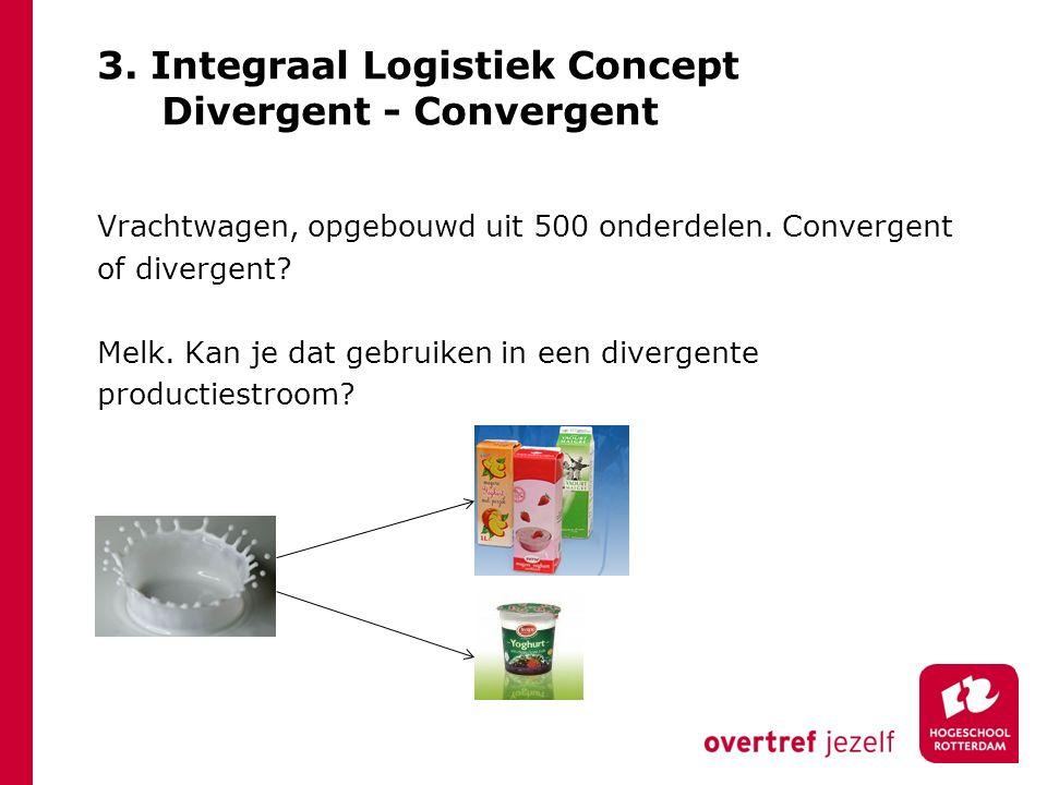 3. Integraal Logistiek Concept Divergent - Convergent Vrachtwagen, opgebouwd uit 500 onderdelen. Convergent of divergent? Melk. Kan je dat gebruiken i