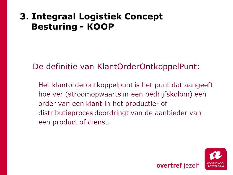 3. Integraal Logistiek Concept Besturing - KOOP De definitie van KlantOrderOntkoppelPunt: Het klantorderontkoppelpunt is het punt dat aangeeft hoe ver