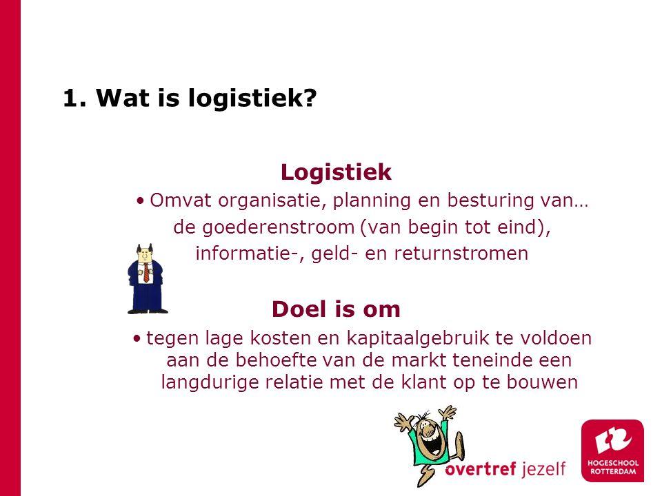 1. Wat is logistiek? Logistiek Omvat organisatie, planning en besturing van… de goederenstroom (van begin tot eind), informatie-, geld- en returnstrom