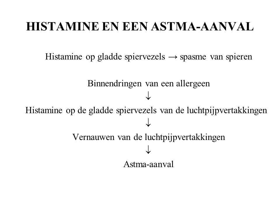 HISTAMINE EN EEN ASTMA-AANVAL Histamine op gladde spiervezels → spasme van spieren Binnendringen van een allergeen  Histamine op de gladde spiervezels van de luchtpijpvertakkingen  Vernauwen van de luchtpijpvertakkingen  Astma-aanval