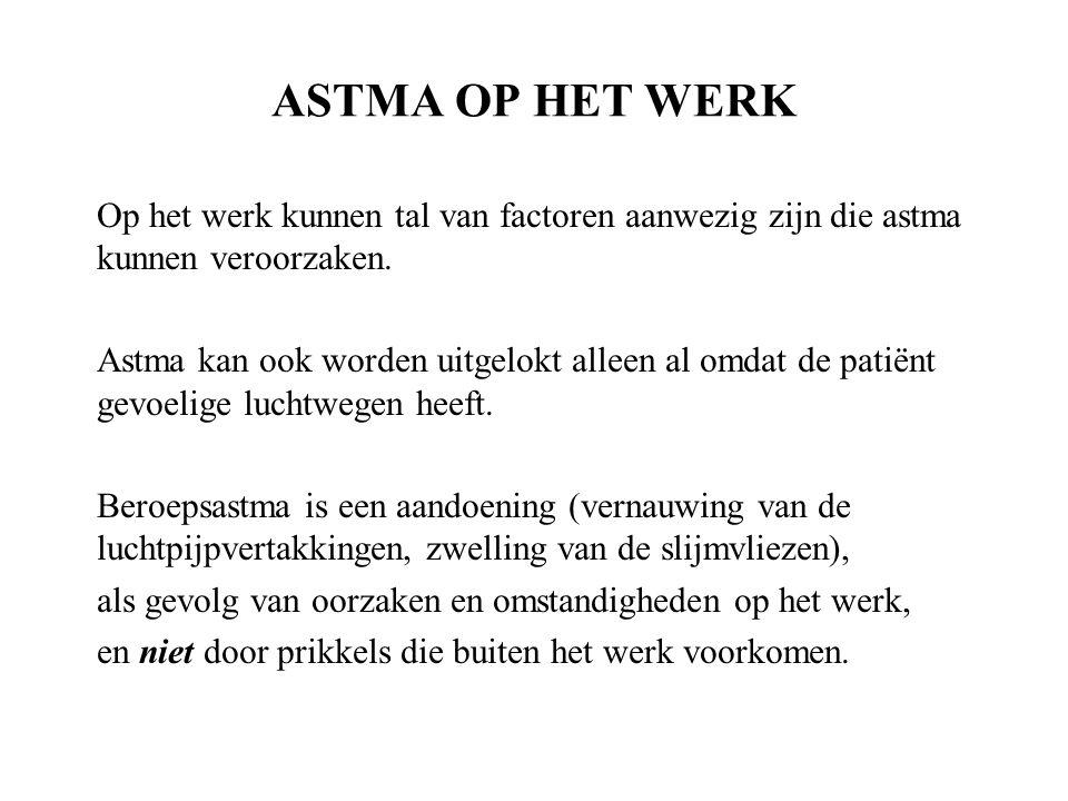 ASTMA OP HET WERK Op het werk kunnen tal van factoren aanwezig zijn die astma kunnen veroorzaken.