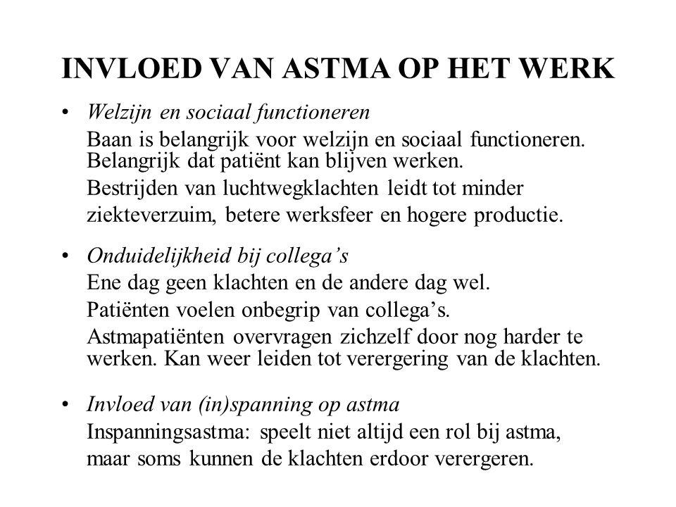 INVLOED VAN ASTMA OP HET WERK Welzijn en sociaal functioneren Baan is belangrijk voor welzijn en sociaal functioneren.