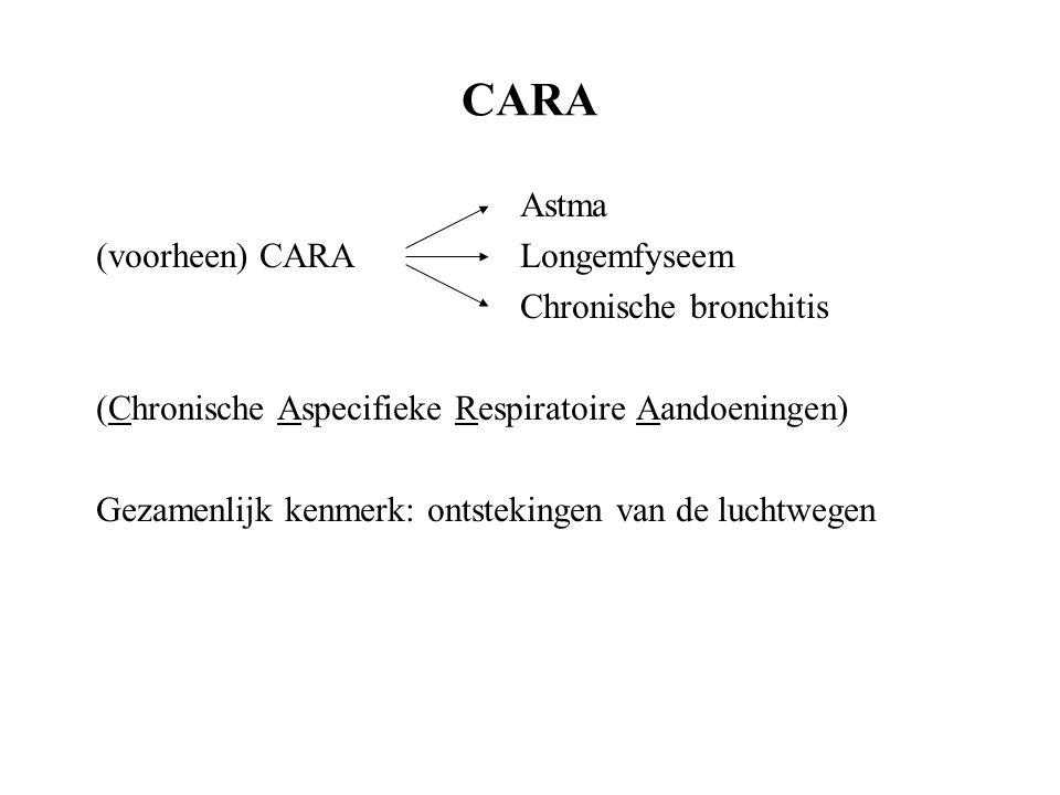 CARA Astma (voorheen) CARALongemfyseem Chronische bronchitis (Chronische Aspecifieke Respiratoire Aandoeningen) Gezamenlijk kenmerk: ontstekingen van de luchtwegen