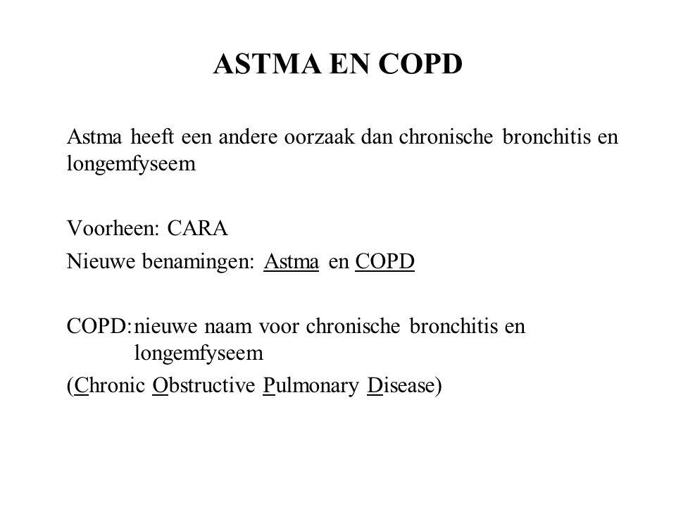 ASTMA EN COPD Astma heeft een andere oorzaak dan chronische bronchitis en longemfyseem Voorheen: CARA Nieuwe benamingen: Astma en COPD COPD:nieuwe naam voor chronische bronchitis en longemfyseem (Chronic Obstructive Pulmonary Disease)