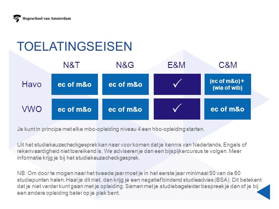 TOELATINGSEISEN E&MC&MN&TN&G ec of m&o  (ec of m&o) + (wia of wib) Havo VWO  Je kunt in principe met elke mbo-opleiding niveau 4 een hbo-opleiding starten.