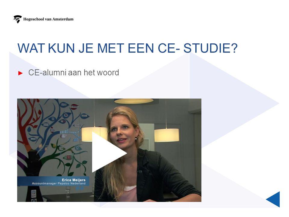 WAT KUN JE MET EEN CE- STUDIE? ► CE-alumni aan het woord