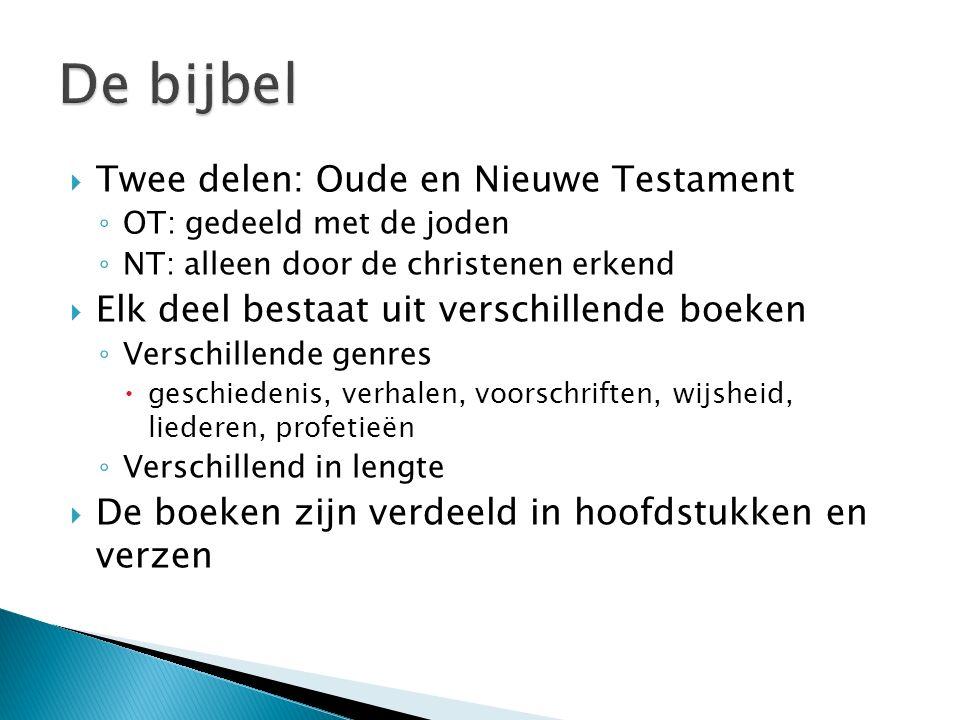  Twee delen: Oude en Nieuwe Testament ◦ OT: gedeeld met de joden ◦ NT: alleen door de christenen erkend  Elk deel bestaat uit verschillende boeken ◦