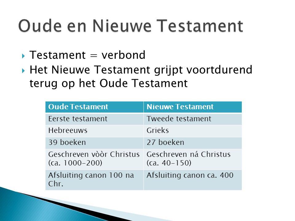  Testament = verbond  Het Nieuwe Testament grijpt voortdurend terug op het Oude Testament Oude TestamentNieuwe Testament Eerste testamentTweede testament HebreeuwsGrieks 39 boeken27 boeken Geschreven vòòr Christus (ca.