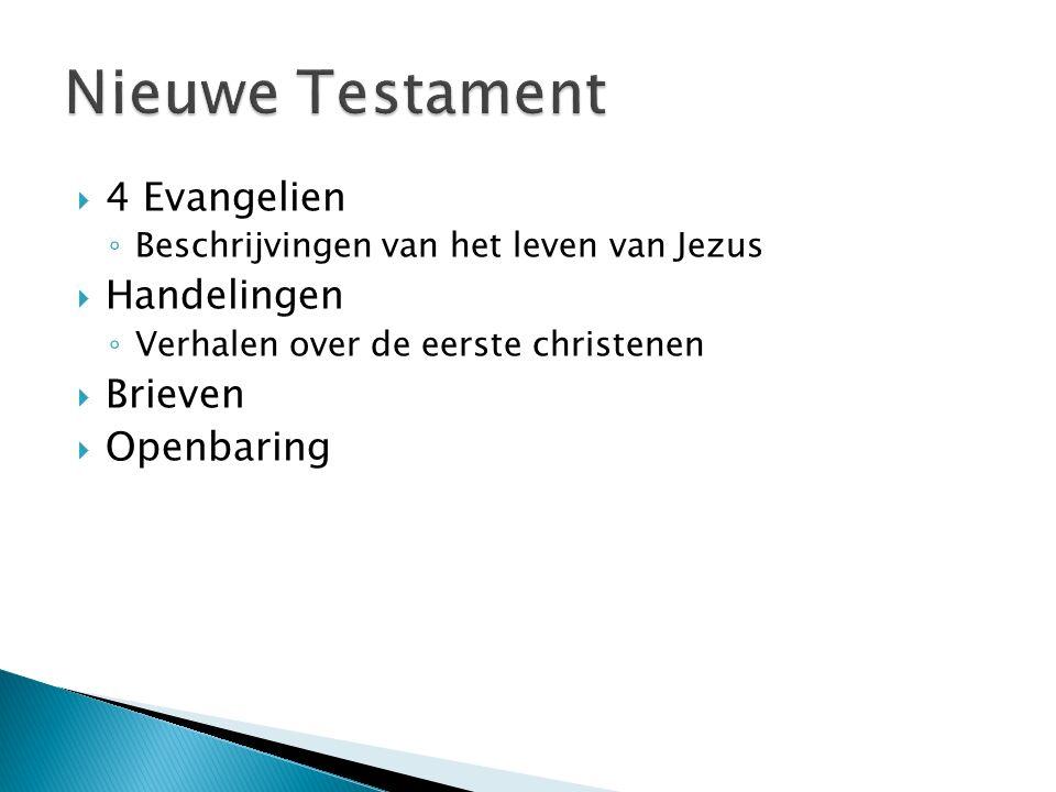  4 Evangelien ◦ Beschrijvingen van het leven van Jezus  Handelingen ◦ Verhalen over de eerste christenen  Brieven  Openbaring