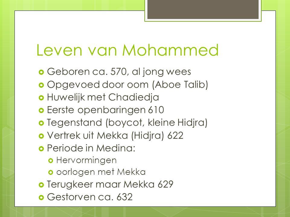 Leven van Mohammed  Geboren ca. 570, al jong wees  Opgevoed door oom (Aboe Talib)  Huwelijk met Chadiedja  Eerste openbaringen 610  Tegenstand (b