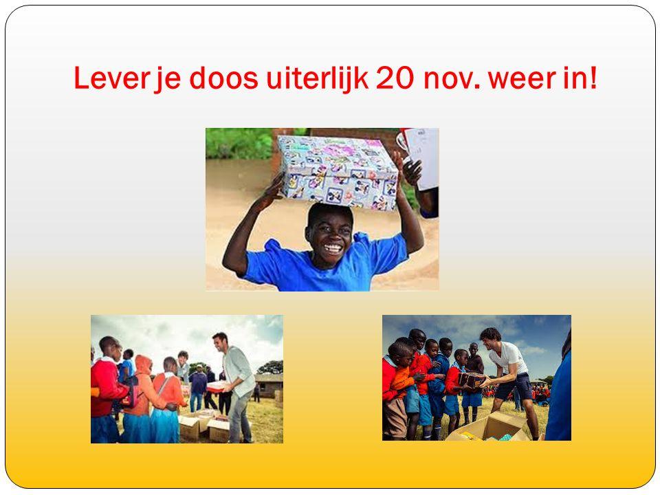 Alles op een rijtje: 4 nov: Start Schoenmaatjesproject Versieren van de schoenendoos 9 nov: We gaan een Engelse brief schrijven voor het kind dat de doos krijgt.