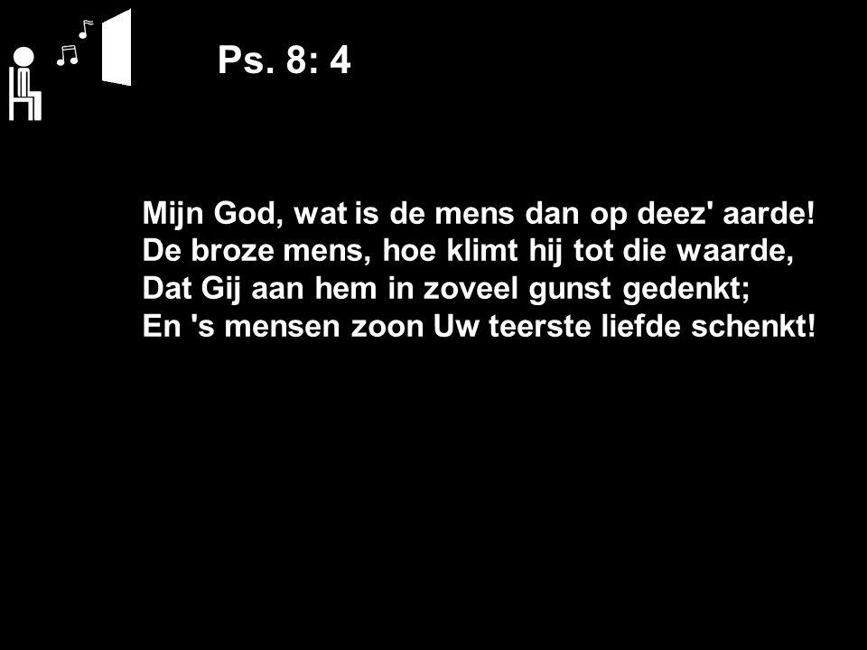 Ps. 8: 4 Mijn God, wat is de mens dan op deez aarde.